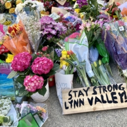 Flowers in support of the victims